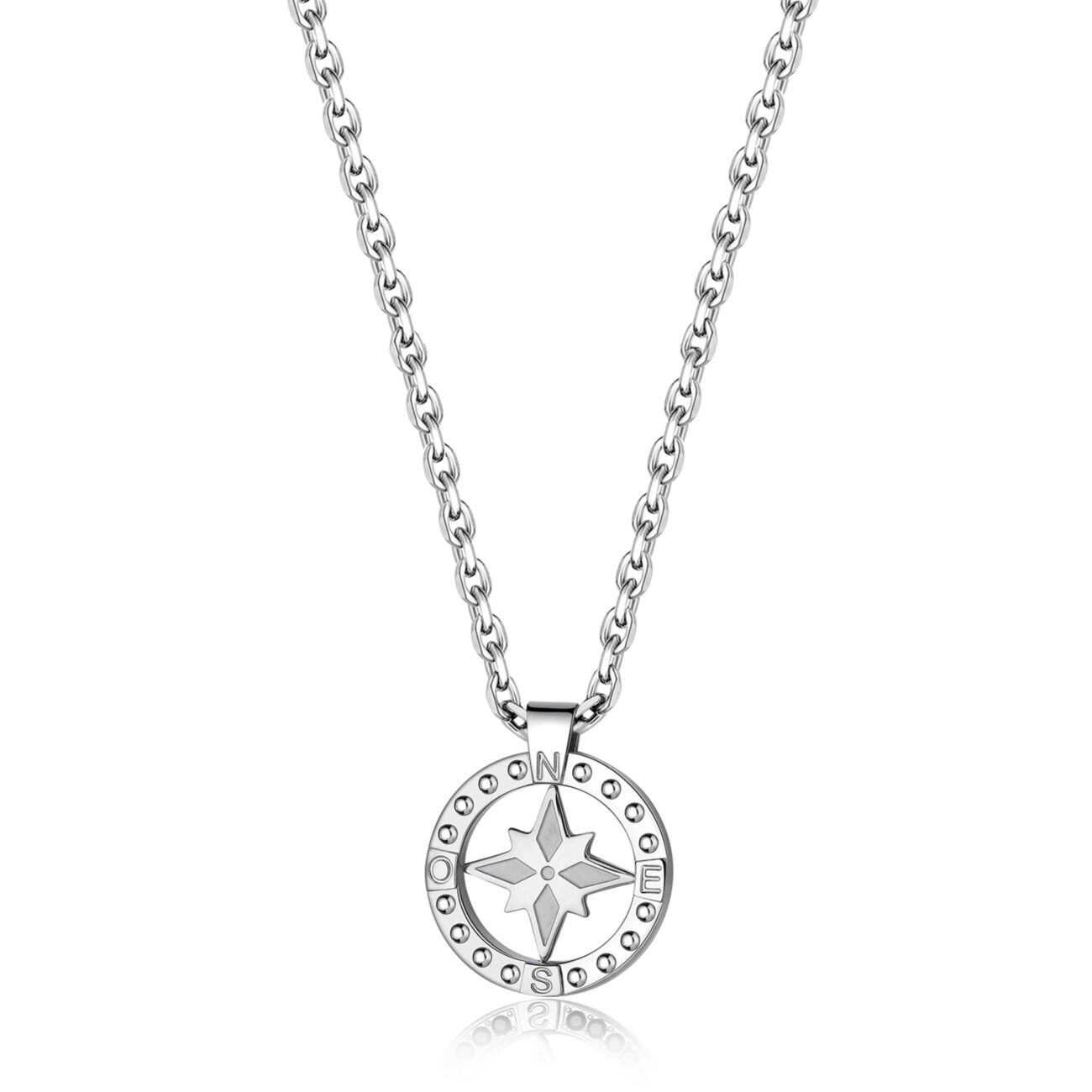 316L stainless steel necklace with large wind rose pendant.