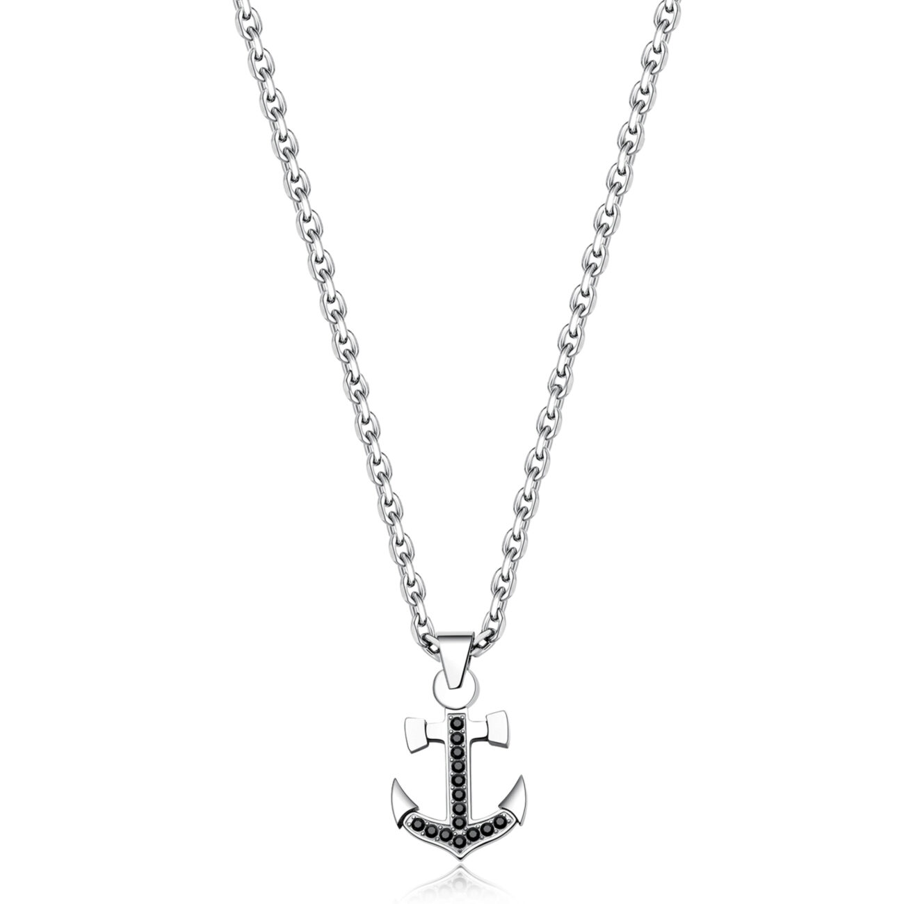 316L stainless steel necklace with small anchor pendant and Swarovski® Elements crystals.