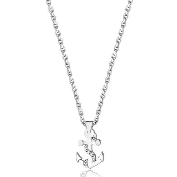 316L stainless steel necklace with small anchor pendant.
