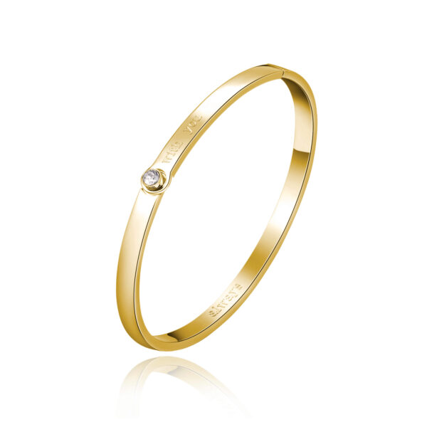 ENGRAVING: With you (front) – Always (back) 316L stainless steel bangle bracelet and gold finishes with crystal crystal.