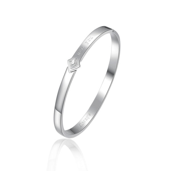 ENGRAVING: With you (front) – Always (back) 316L stainless steel bangle bracelet with crystal crystal.