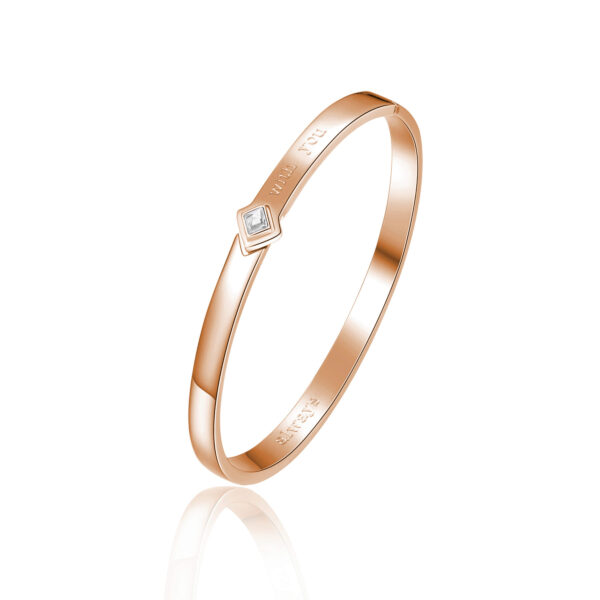 ENGRAVING: With you (front) – Always (back) 316L stainless steel bangle bracelet and rose gold finishes with crystal crystal.