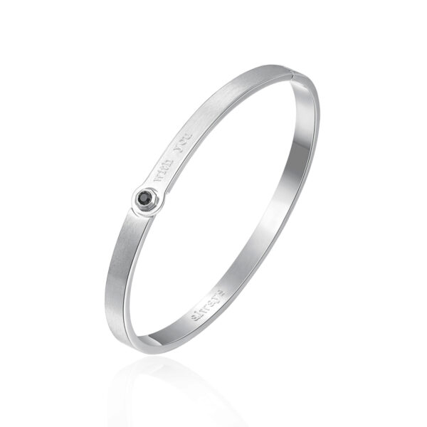 ENGRAVING: With you (front) – Always (back) 316L stainless steel brushed bangle bracelet with jet crystal.