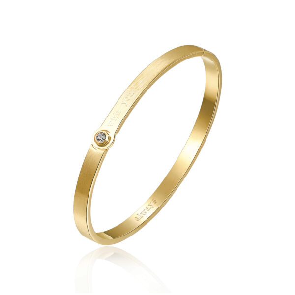 ENGRAVING: With you (front) – Always (back) 316L stainless steel bangle bracelet and gold finishes with black diamond crystal.