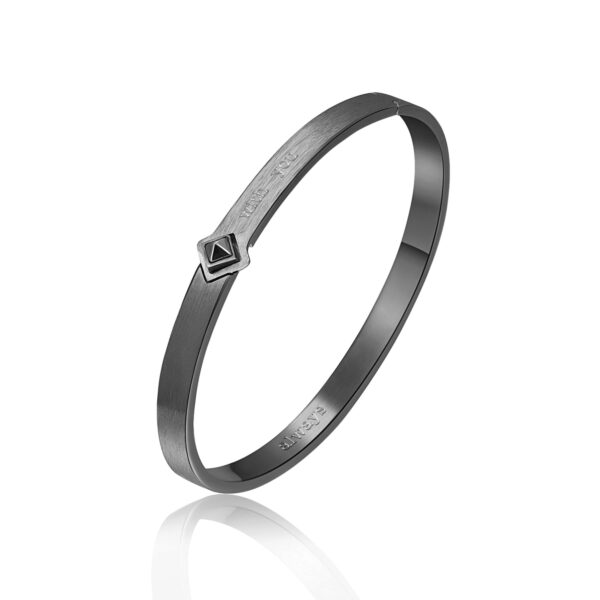 ENGRAVING: With you (front) – Always (back) 316L stainless steel brushed bangle bracelet and gun finishes with jet crystal.