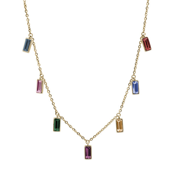 316L stainless steel necklace and gold pvd with montana, light rose, amethyst, topaz, aquamarine and scarlet crystals.