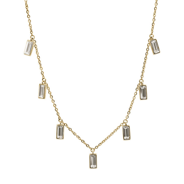 316L stainless steel necklace and gold pvd with crystal transmission crystals.
