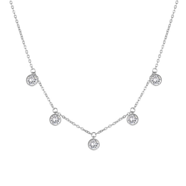 316L stainless steel necklace with crystal crystals.