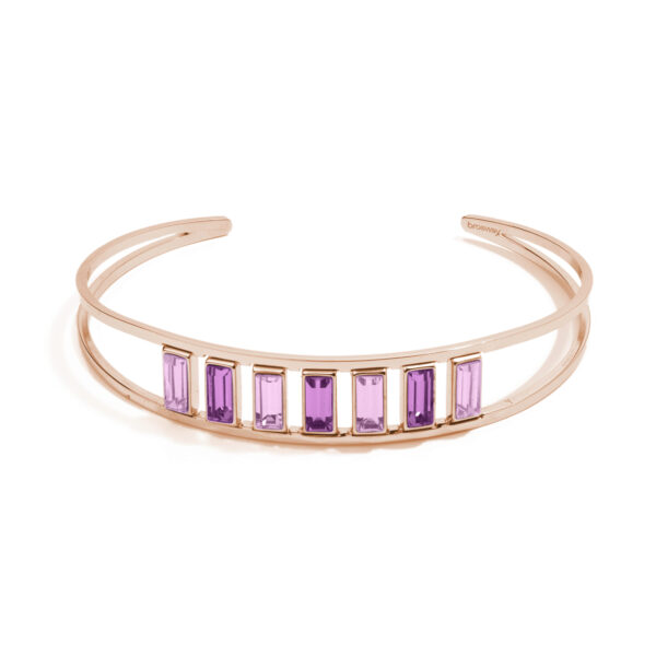 316L stainless steel bracelet and rose gold pvd with amethyst and light amethyst crystals.