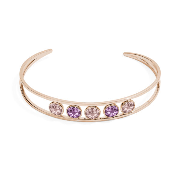 316L stainless steel bracelet and rose gold pvd with light amethyst and vintage rose crystals.