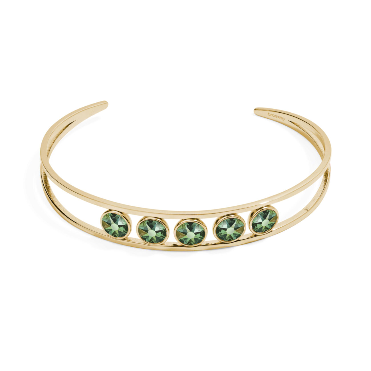 316L stainless steel bracelet and gold pvd with emerald moonlight crystals.