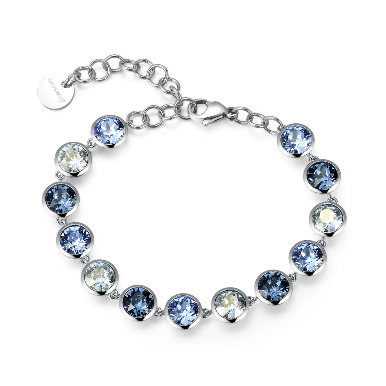 316L stainless steel bracelet with light sapphire, denim blue and crystal blue shade crystals.