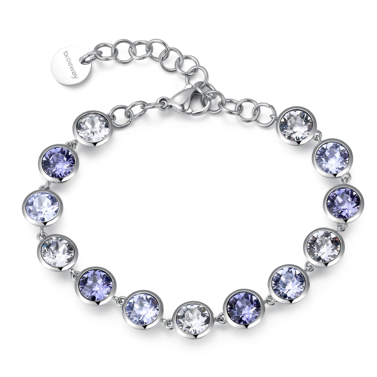 316L stainless steel bracelet with smoky mauve, tanzanite and provence lavender crystals.