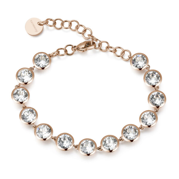 316L stainless steel bracelet and rose gold pvd with crystal crystals.