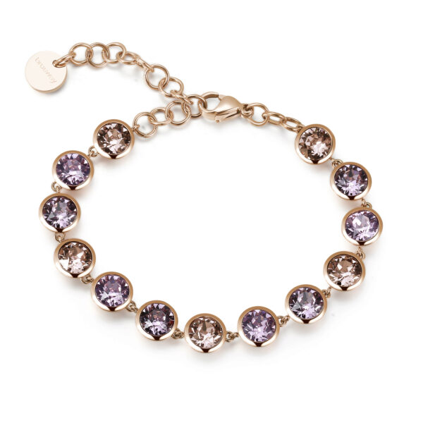 316L stainless steel bracelet and rose gold pvd with vintage rose, light amethyst and crystal antique pink crystals.