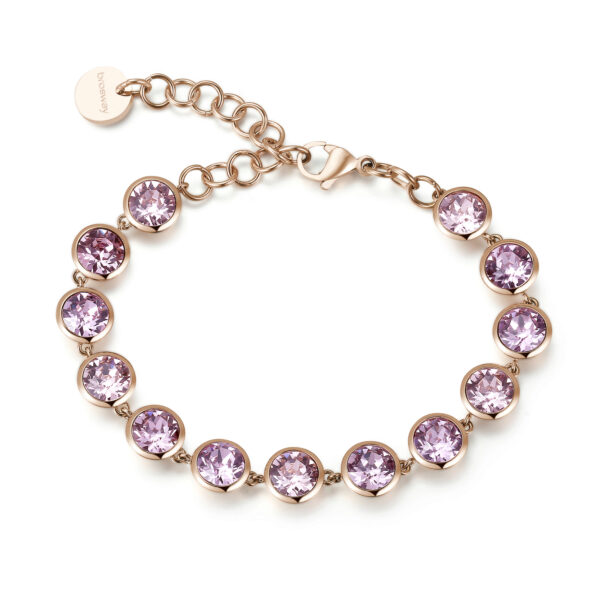 316L stainless steel bracelet and rose gold pvd with light amethyst crystals.