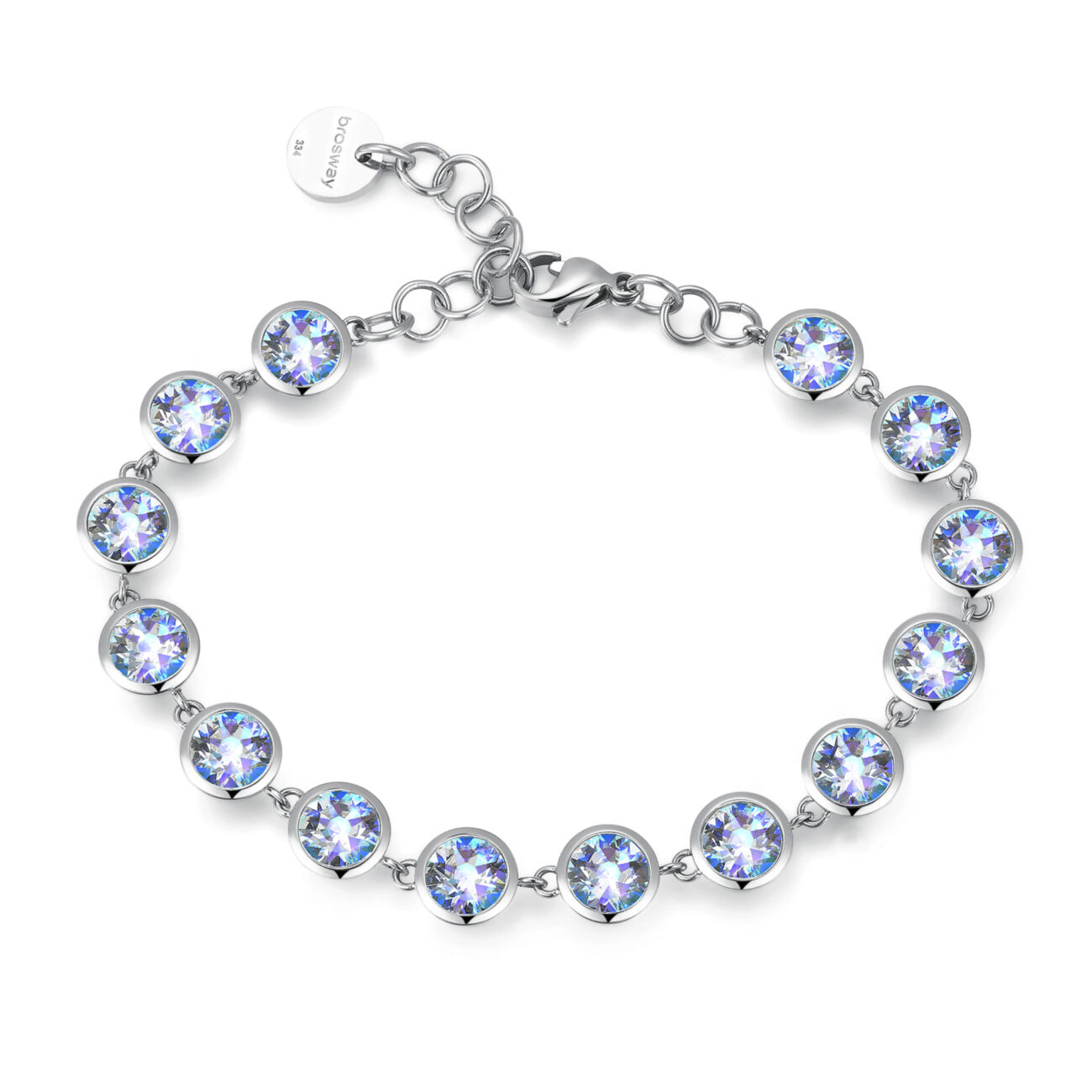 316L stainless steel bracelet with aquamarine vitrail light crystals.