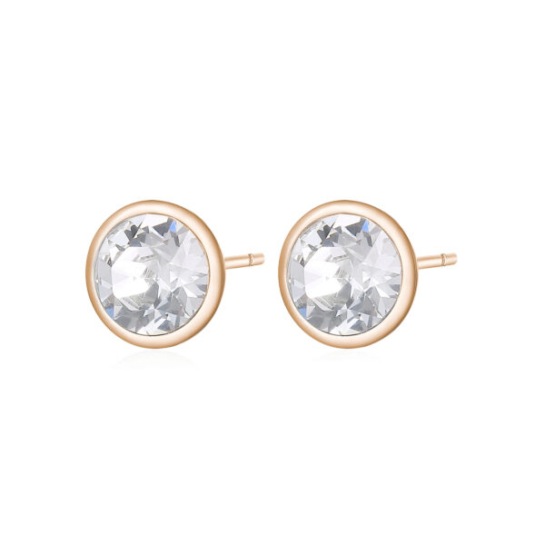 316L stainless steel earrings and rose gold pvd with crystal crystals.