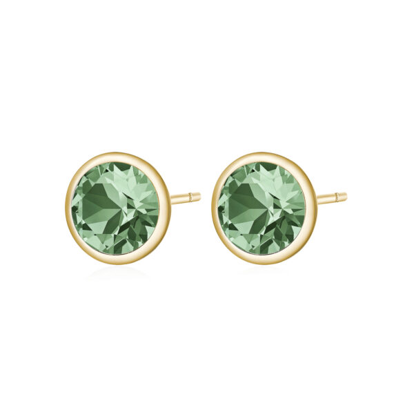 316L stainless steel earrings and gold pvd with erinite crystals.