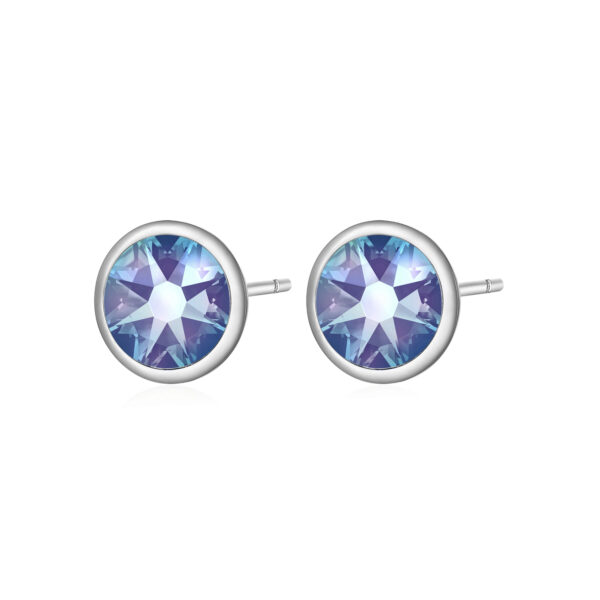 316L stainless steel earrings with aquamarine vitrail light crystals.
