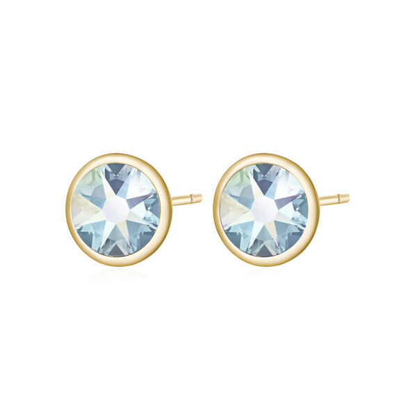316L stainless steel earrings and gold pvd with emerald moonlight crystals.