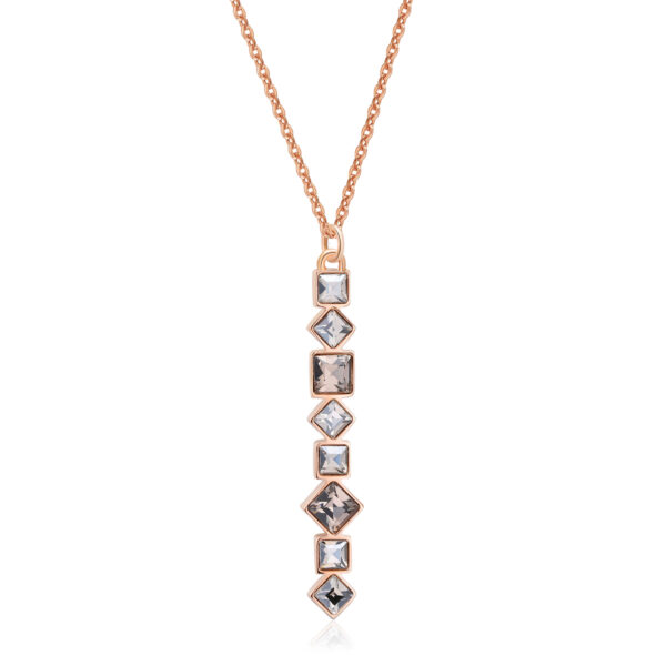 316L stainless steel necklace and rose gold pvd with crystal crystals.