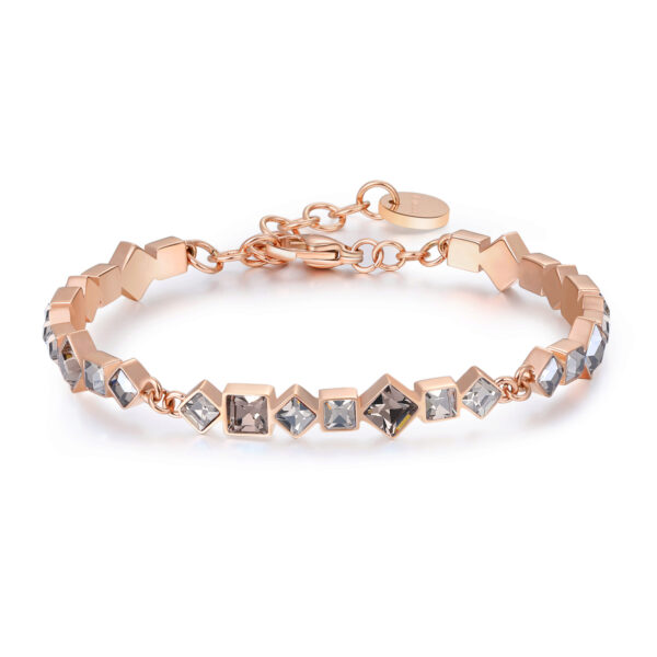 316L stainless steel bracelet and rose gold pvd with crystal velvet crystals.