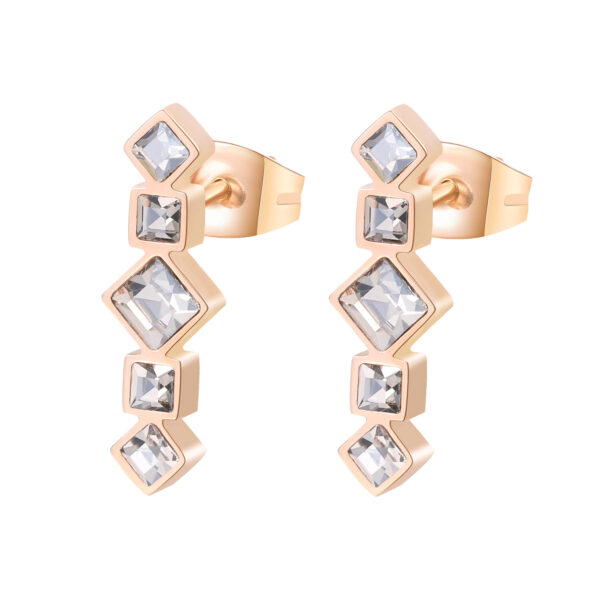 316L stainless steel earrings and rose gold pvd with velvetcrystals.
