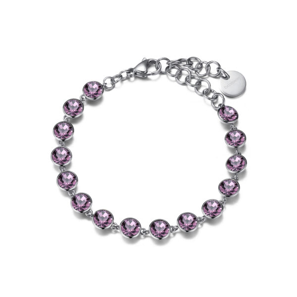 316L stainless steel bracelet with light amethyst crystals.