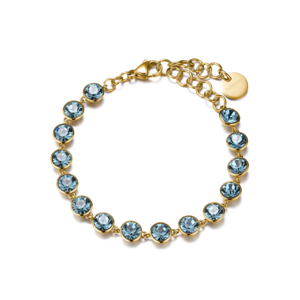 316L stainless steel bracelet, gold finishes and smoked sapphire crystals.