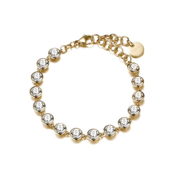 316L stainless steel bracelet, gold finishes with crystals.