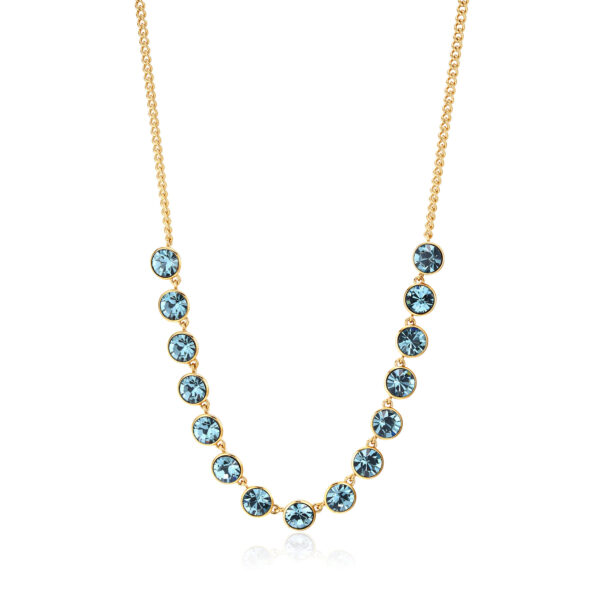 316L stainless steel necklace and gold finishes with smoked sapphire crystals.