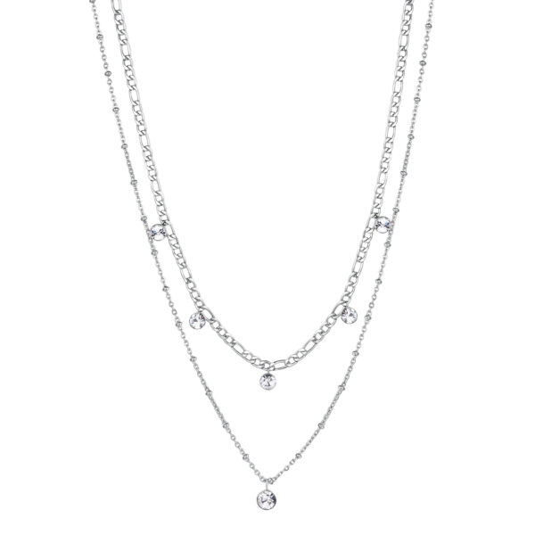 316L stainless steel double chain necklace with crystals.