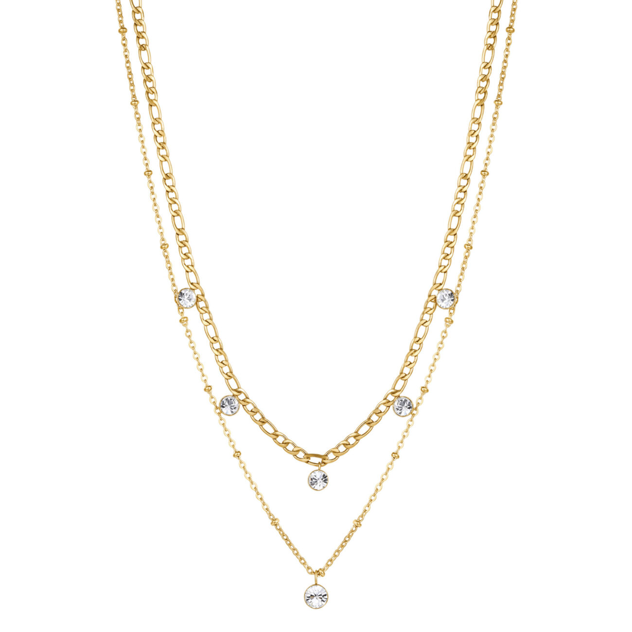316L stainless steel double chain necklace, gold finishes with crystals.