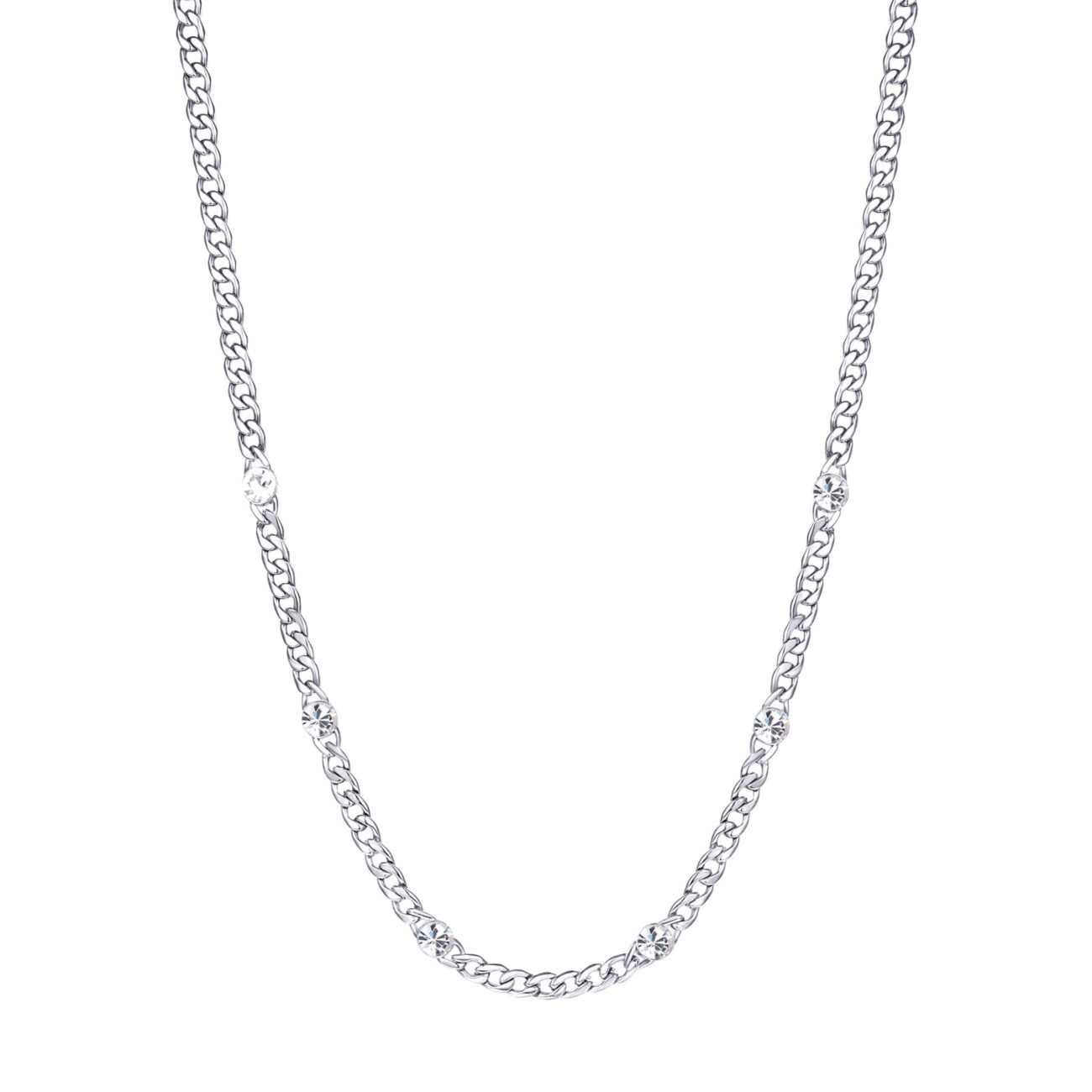 316L stainless steel chain necklace with crystals.