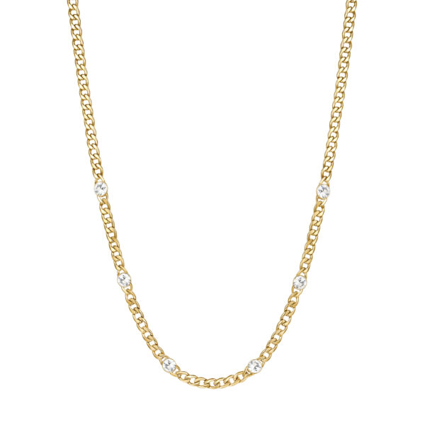 316L stainless steel chain necklace, gold finishes with crystals.