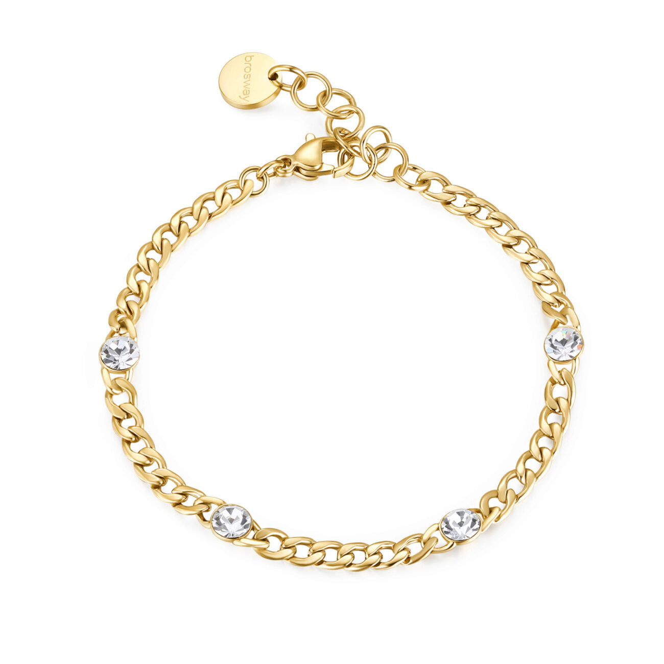 316L stainless steel bracelet and gold finishes with crystals.