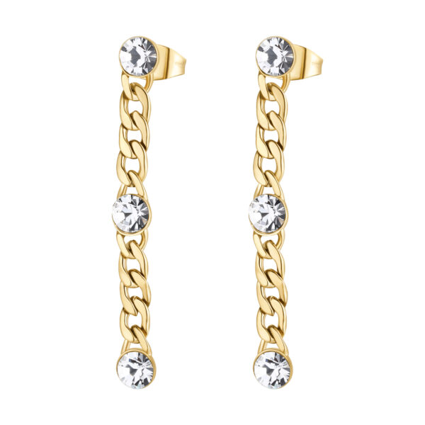 316L stainless steel pendant earrings, gold finishes with crystals.