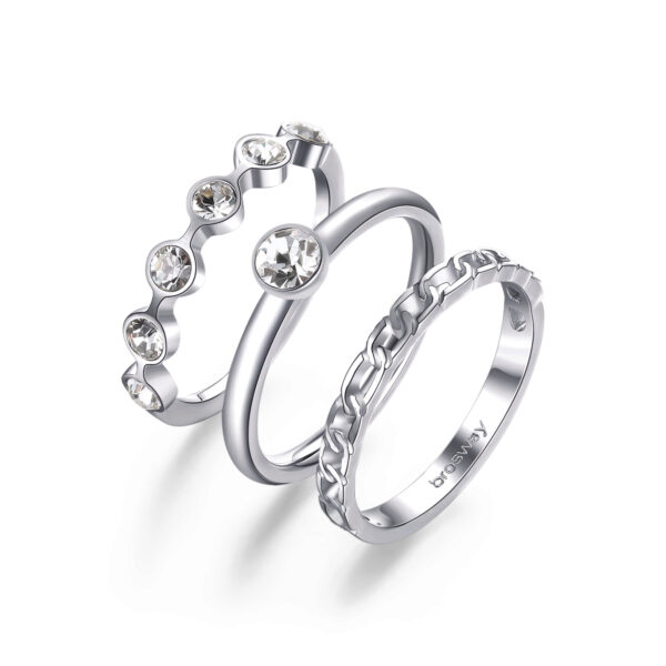 316L stainless steel rings set with crystals.