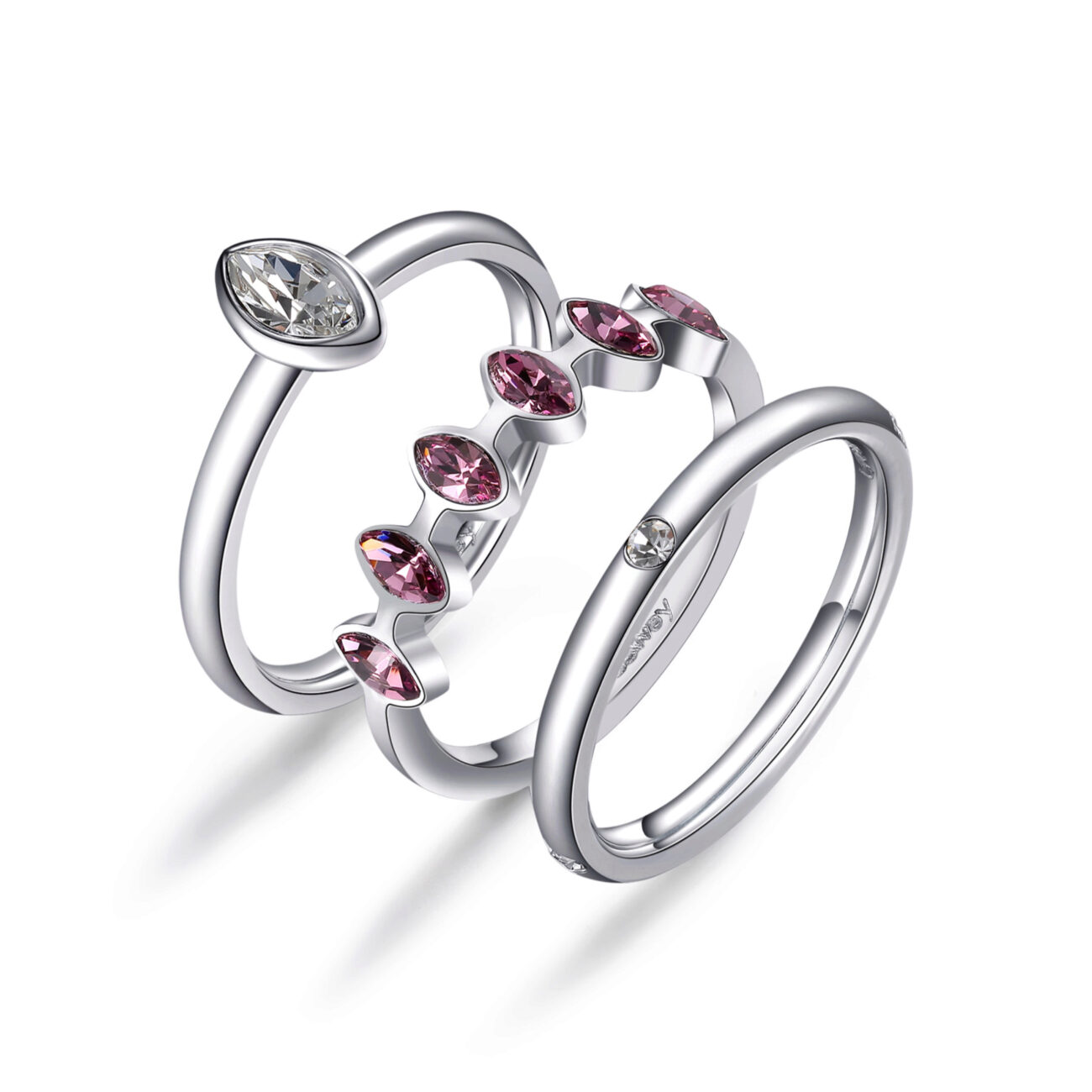 316L stainless steel rings set with crystal and light ametist crystals.