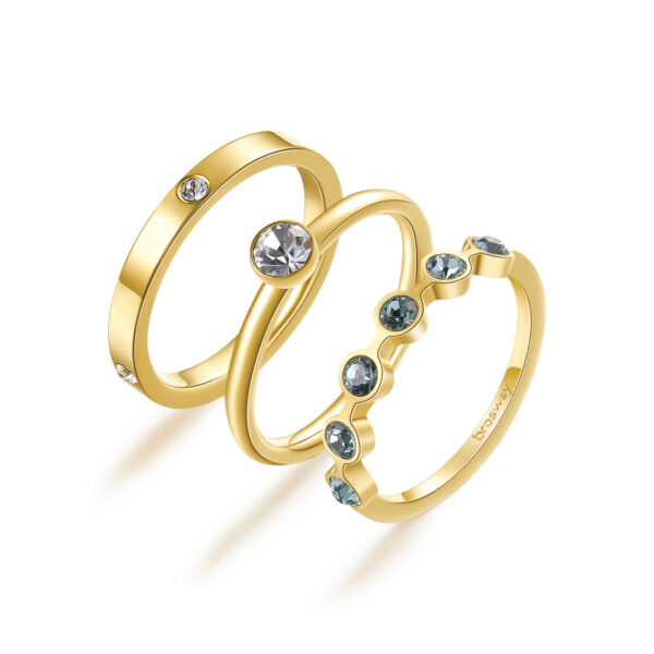 316L stainless steel rings set, gold finishes with crystal and smoked sapphire crystals.