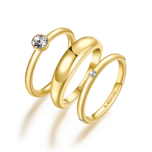 316L stainless steel rings set, gold finishes with crystals.