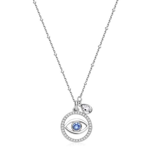 eye-shaped 925 Sterling Silver necklace, white zircon pavé and crystal and denim blue Swarovski® crystal