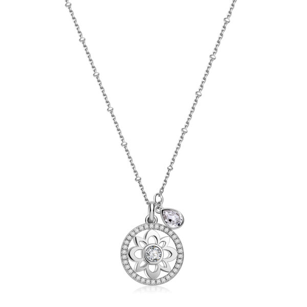 flower-shaped 925 Sterling Silver necklace, white zircon pavé and crystal Swarovski® crystals
