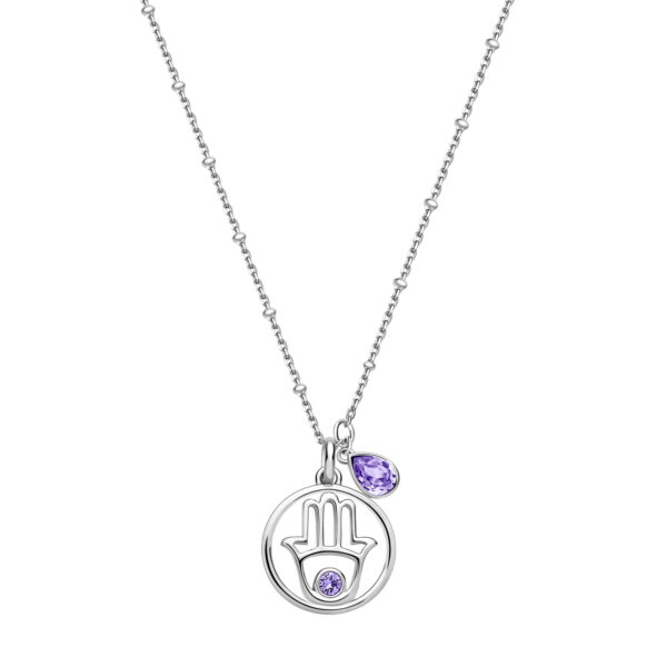 Hamsa-shaped 925 Sterling Silver necklace with provence lavender Swarovski® crystals
