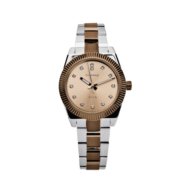 Case: Ø 32,2 mm. 304 stainless steel, gold pvd and mineral glass Features: hours, minutes, seconds Movement: Miyota 2035 Dial: brown sunray and zircons Water resistant: 3 atmospheres Wristband: 304 stainless steel and brown pvd
