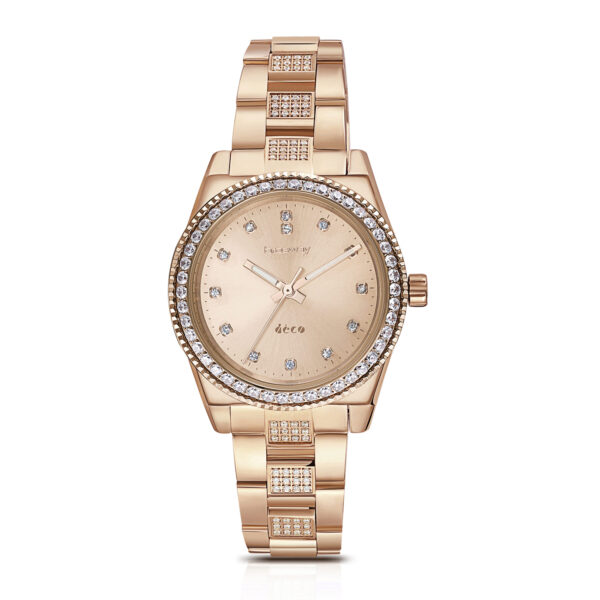Case: Ø 32,2 mm. 304 stainless steel, rose gold pvd, zircons and mineral glassFeatures: hours, minutes, secondsMovement: Miyota 2035 Dial: rose gold sunray and zircons Water resistant: 3 atmospheres Wristband: 304 stainless steel, rose gold pvd and zircons