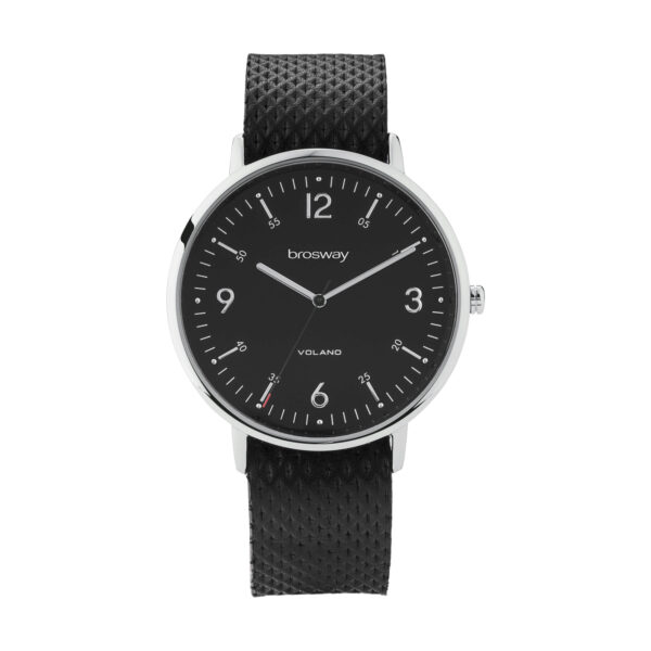 Stainless steel watch with black dial and leather strap