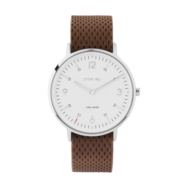 Stainless steel watch with white dial and leather strap