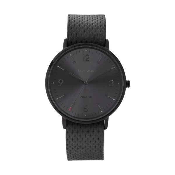 Stainless steel watch with black pvd, black dial and leather strap